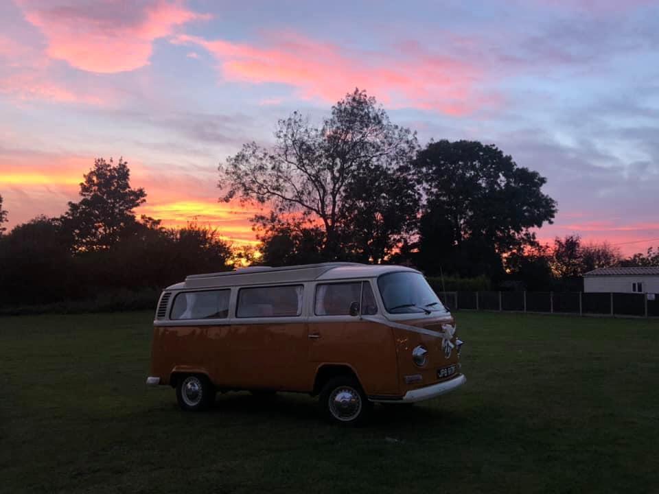 vw campervan at dusk