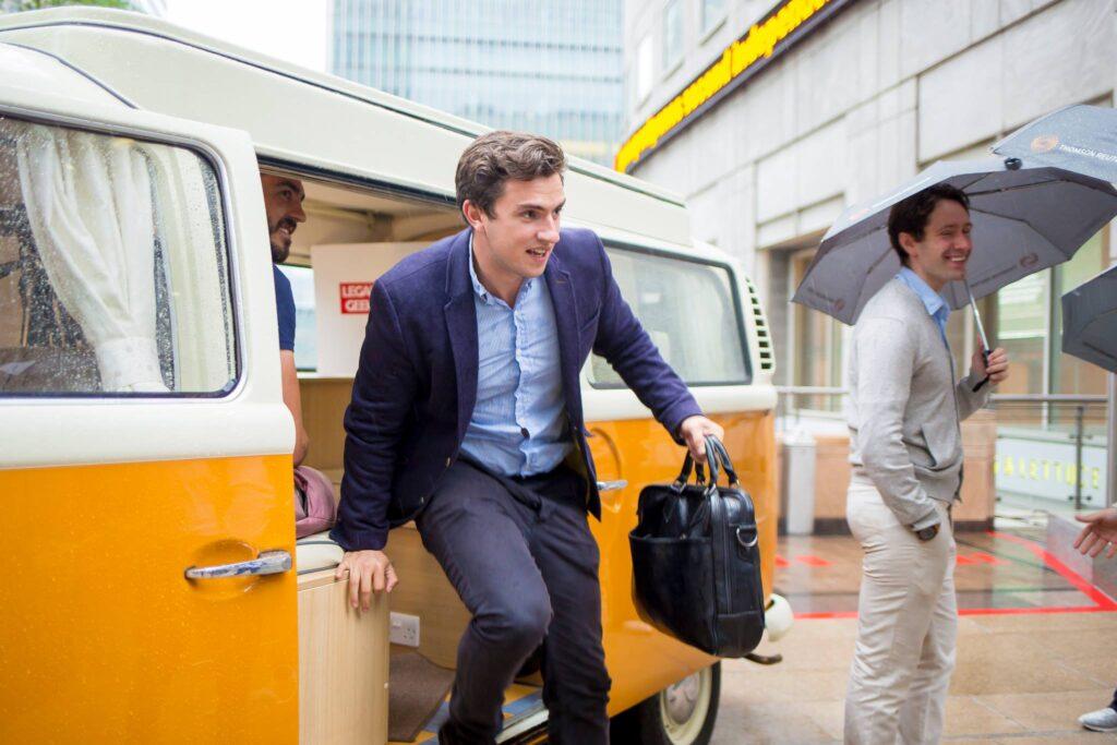 meeting in VW campervan