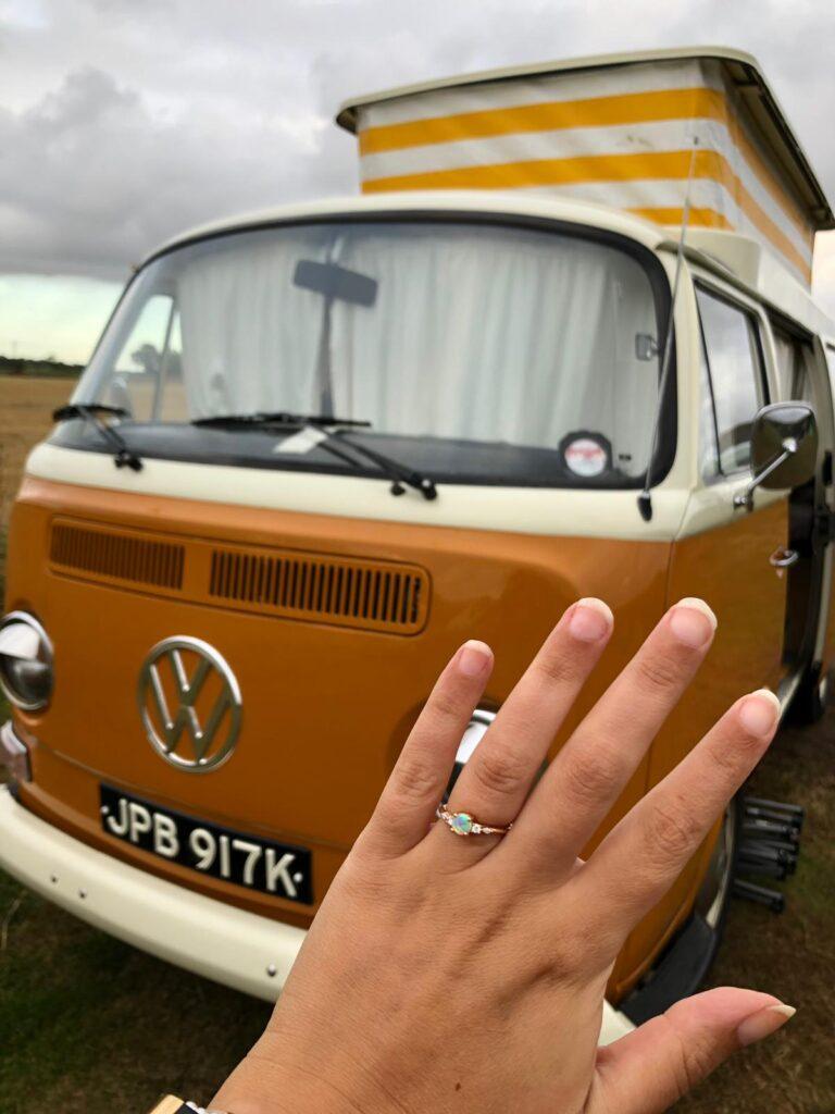 vw campervan engagement ring